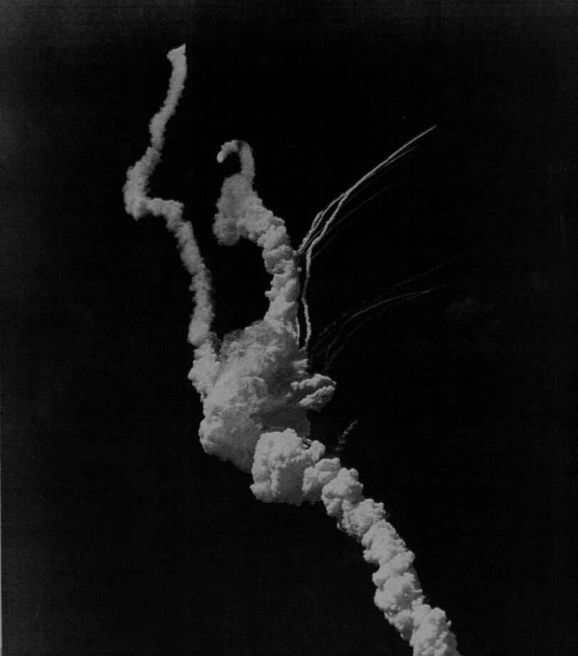 The Space Shuttle Challenger explodes seconds after takeoff from Kennedy Space Center, Fla., on Jan. 28, 1986. Photo: Karl Gehring, Getty Images / (C) 2010 The Denver Post, MediaNews Group