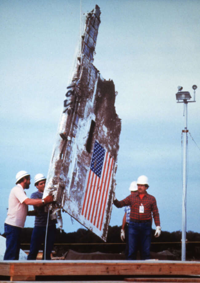 These fragments of the Space Shuttle Challenger were recovered off the coasts of Florida after its explosion on takeoff from Kennedy Space Center earlier on Jan. 28, 1986. Photo: UniversalImagesGroup, Getty Images / Universal Images Group Editorial