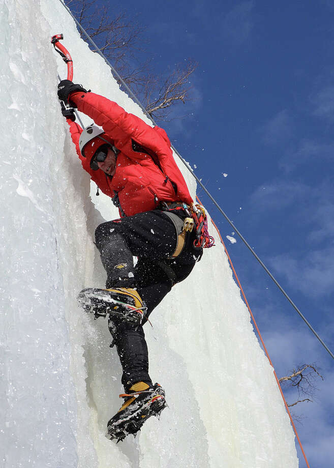 "Tom Denham of Delmar climbs the route, ""Pitchoff Right"" in Keene, NY.  The Adirondacks is a popular destination for ice climbers during the cold winter months. Submitted by Dwight Cheu"