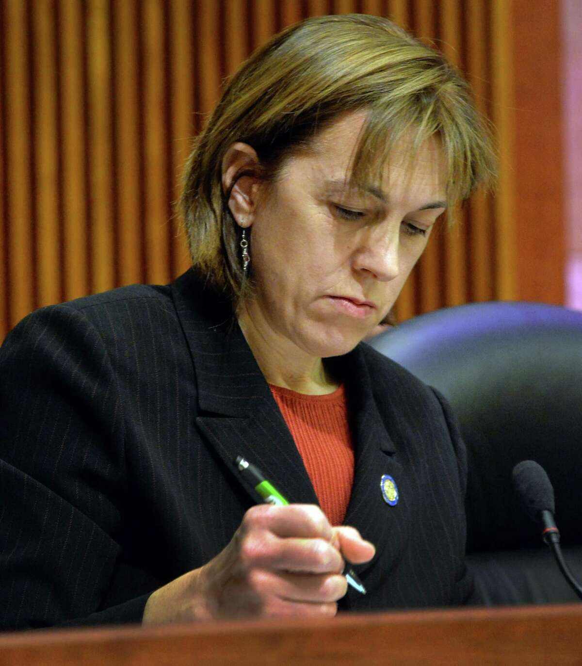 New York State Senator Cecilia Tkaczyk takes notes as she listens to testimony from NYS Education Commissioner Dr. John B. King, Jr. during a legislative hearing on Gov. Cuomo's budget proposals Tuesday Jan. 28, 2014, in Albany,NY. (John Carl D'Annibale / Times Union)