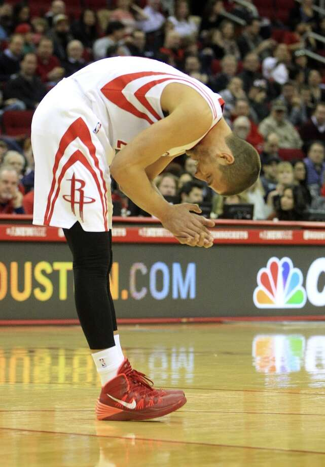 Rockets forward Chandler Parsons reacts to a call. Photo: Karen Warren, Houston Chronicle