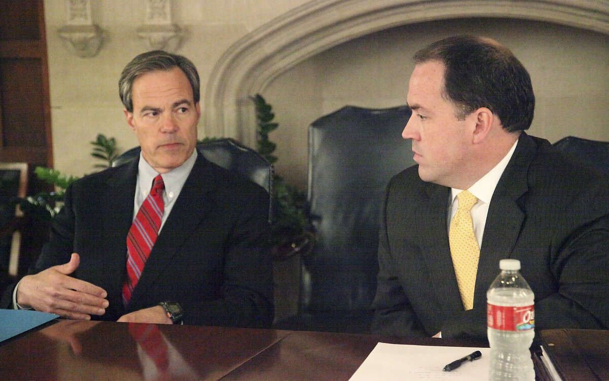 Texas House Speaker Joe Straus, R-San Antonio, appears before the Editorial Board with his lone re-election opponent, tea party-backed businessman Matt Beebe.
