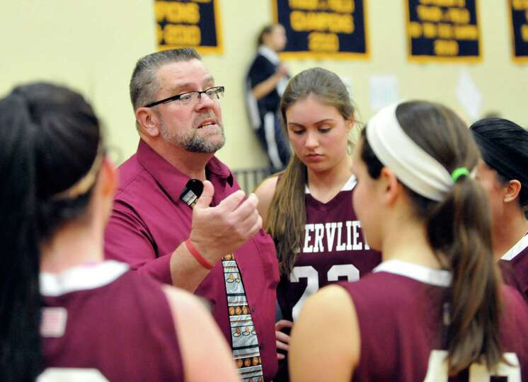 Watervliet hed coach Gordie Johnson coaches his team against Academy of the Holy Names during their
