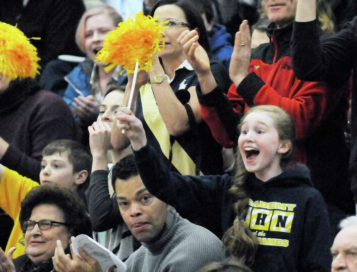 Academy of the Holy Names fans cheer for their team against Watervliet during their girls basketball