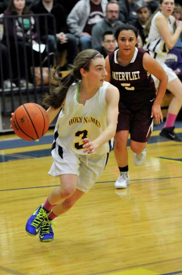 Academy of the Holy Names' Lydia Williams (3) moves the ball against Watervliet during their girls basketballl game in Albany, N.Y., Tuesday, Jan. 28, 2014. (Hans Pennink / Special to the Times Union) ORG XMIT: HP110 Photo: Hans Pennink / Hans Pennink