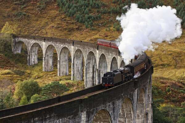During the summer, the steam locomotive–hauled tourist train known as the Jacobite travels a section of the  West Highland Line  in Scotland.