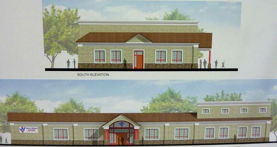 Architects' drawings displayed at Tuesday's Town Plan and Zoning Commission meeting show the renovations proposed for the former Stratfield Market to convert it into a Child's World Academy day-care center. Photo: Genevieve Reilly / Fairfield Citizen