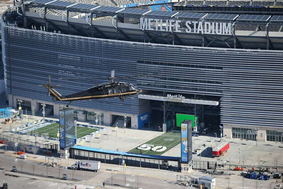 A Customs and Border Protection Blackhawk helicopter gets up close to MetLife Stadium. Photo: John Moore, Getty Images