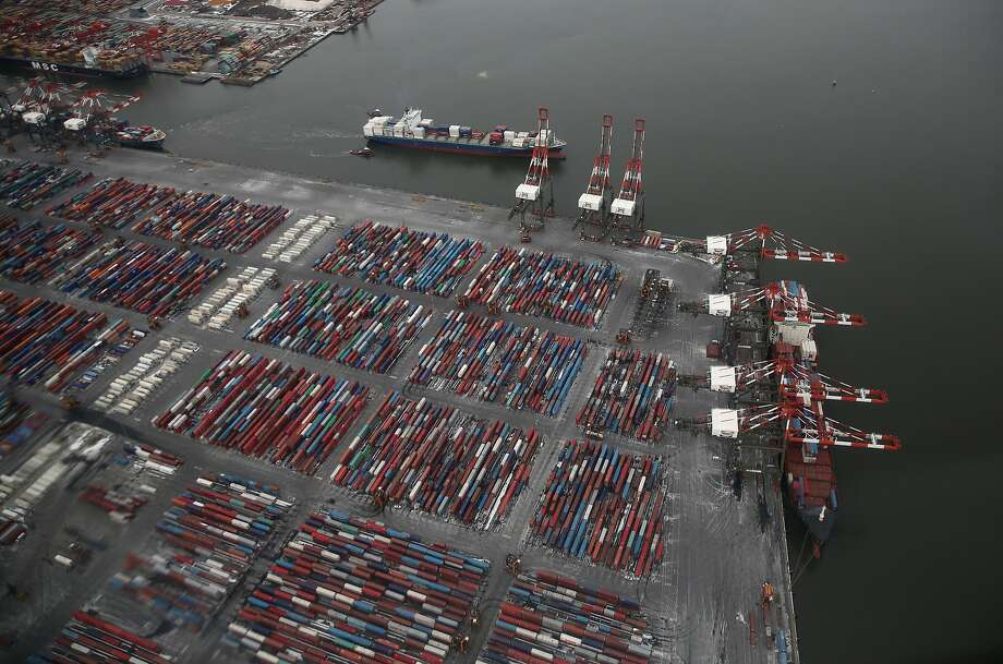 "The Port Newark Container Terminal is seen from a Customs and Border Protection (CBP), helicopter ahead of Super Bowl XLVIII on January 28, 2014 in Newark, New Jersey. Helicopters flown by CBP's ""air interdiction agents"" from the U.S. Office of Air and Marine (OAM), are providing air support for Super Bowl XLVIII this Sunday. Photo: John Moore, Getty Images"