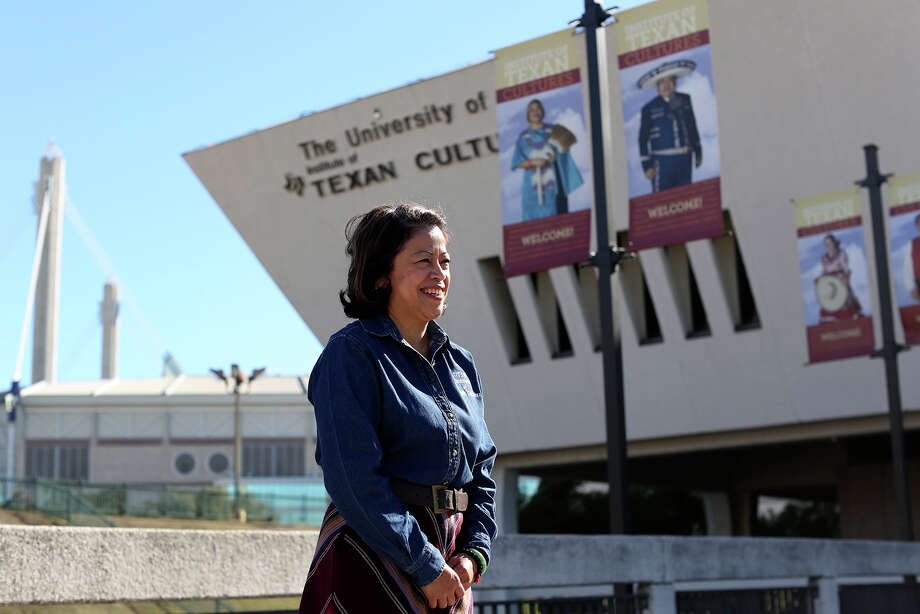 Angelica Docog, executive director of the Institute of Texan Cultures, stands in front of the institute in San Antonio on Wednesday, Jan. 22, 2014. Photo: Lisa Krantz, San Antonio Express-News / San Antonio Express-News