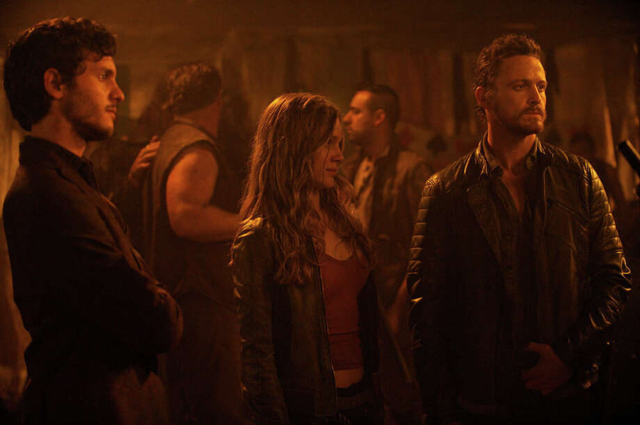 "REVOLUTION -- ""Happy Endings"" at 7 tonight on NBC was filmed in Seguin. -- Pictured:  (l-r) Mat Vairo as Connor, Tracy Spiridakos as Charlie Matheson, David Lyons as Sebastian Monroe -- (Photo by: Felicia Graham/NBC) Photo: NBC, Felicia Graham/NBC / 2013 NBCUniversal Media, LLC"