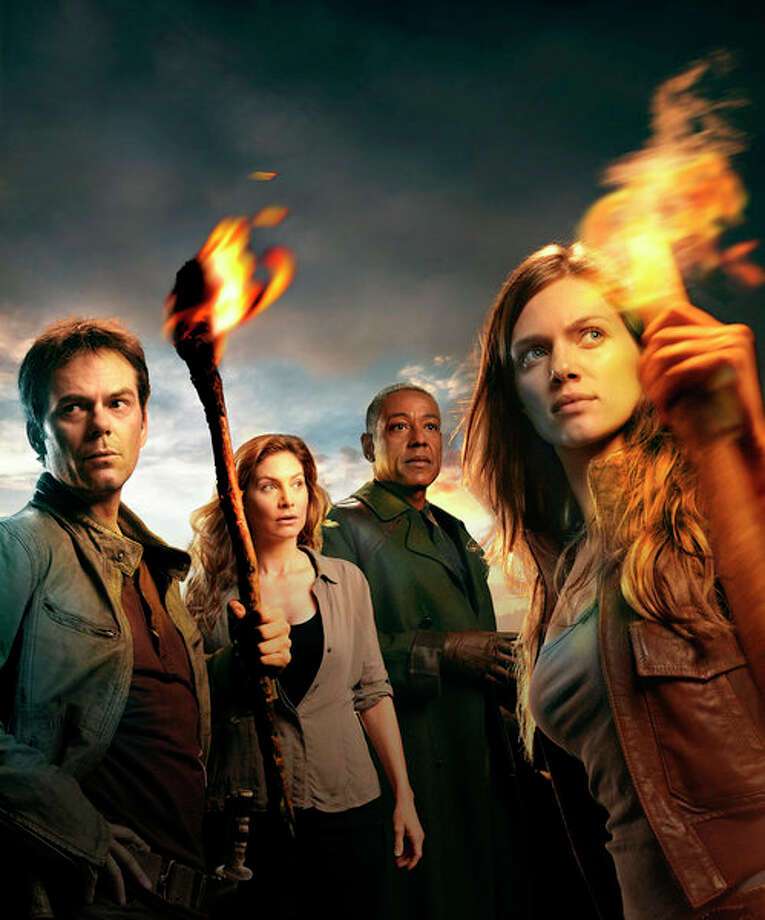 REVOLUTION -- Pictured: (l-r) Billy Burke as Miles,  Elizabeth Mitchell as Rachel, Giancarlo Esposito as Lt. Neville, Tracy Spiridakos as Charlie -- (Photo by: Nino Munoz/NBC) Photo: NBC, Nino Munoz/NBC / 2012 NBCUniversal Media, LLC