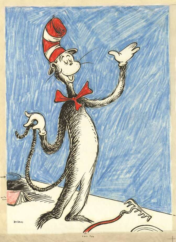 On that cold, cold wet dayIn the 1950s, parents and educators became concerned that children weren't reading because their books were too dull. The head of the education division at Houghton Mifflin, William Ellsworth Spaudling, asked Theodor Seuss Geisel, a successful illustrator, to create an entertaining book using only 348 core words. Photo: Theodor Seuss Geisel / ONLINE_YES