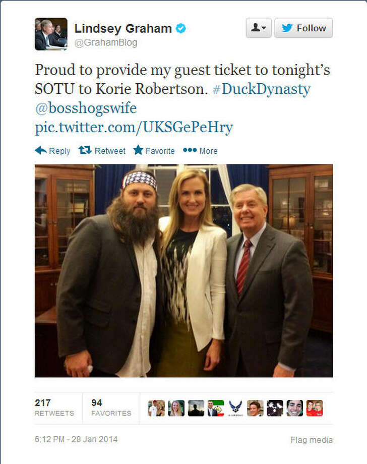 Sen. Lindsey Graham, R-S.C., takes a photo with Willie Robertson and his wife.Source: Twitter
