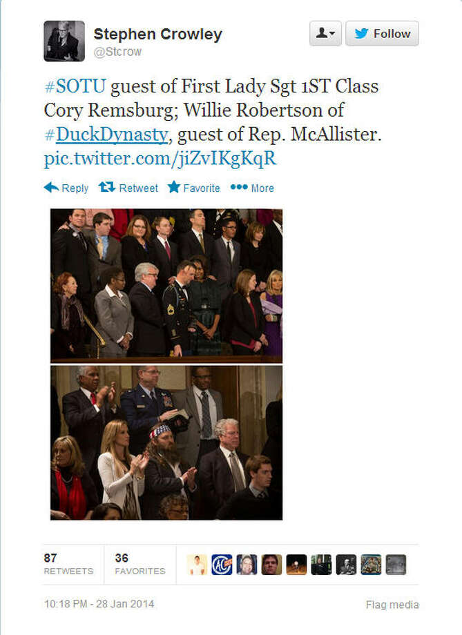New York Times photographer Stephen Crowley points out the guests in attendance at Pres. Obama's State of the Union address, including Willie Robertson below.Source: Twitter