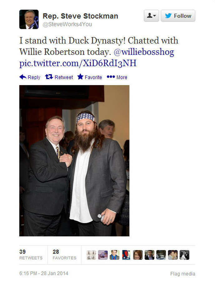 Willie Robertson takes a photo with Rep. Steve Stockman, R-TX.Source: Twitter