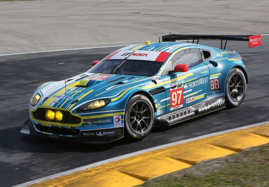The #97 Aston Martin Racing Aston Martin Vantage V8 driven by Stefan Mucke, Darren Turner, Pedro Lamy, Richie Stanaway and Paul Dalla Lana races during practice for the ROLEX 24 at Daytona International Speedway in Daytona Beach, Florida. Photo: Jerry Markland, Getty Images