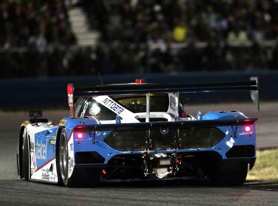 The #02 Chip Ganassi Racing Target/Telcel Riley DP driven by Scott Dixon, Tony Kanaan, Mario Franchitti and Kyle Larson races during the night at the ROLEX 24 at Daytona International Speedway in Daytona Beach, Florida. Photo: Jerry Markland, Getty Images