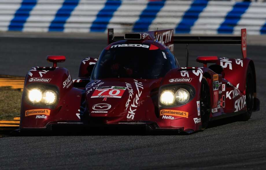 The #70 SpeedSource Mazda driven by Sylvain Tremblay, Tom Long and James Hinchcliffe races during during the Rolex 24 at Daytona International Speedway in Daytona Beach, Florida. Photo: Chris Trotman, Getty Images