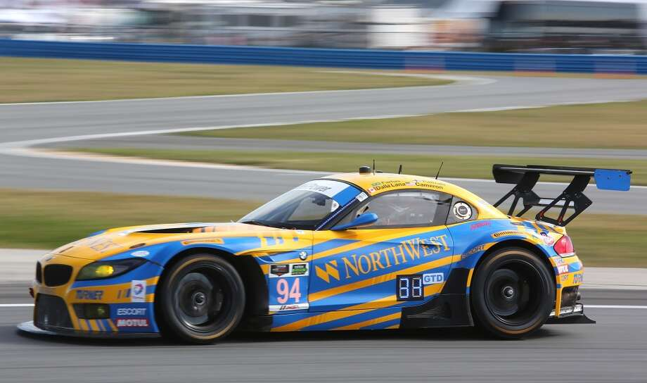 The #94 Turner Motorsports BMW Z$ driven by Dane Cameron, Paul Dalla Lana, Augusto Farfus and Markus Palttala races during practice for the ROLEX 24 at Daytona International Speedway in Daytona Beach, Florida. Photo: Jerry Markland, Getty Images