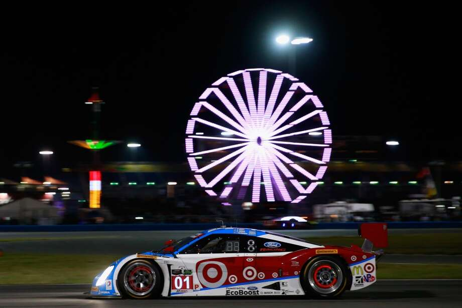 The #01 Chip Ganassi Racing Telcel/Target Riley DP driven by Scott Pruett, Memo Rojas, Jamie McMurray and Sage Karem races  during the Rolex 24 at Daytona International Speedway in Daytona Beach, Florida. Photo: Chris Trotman, Getty Images