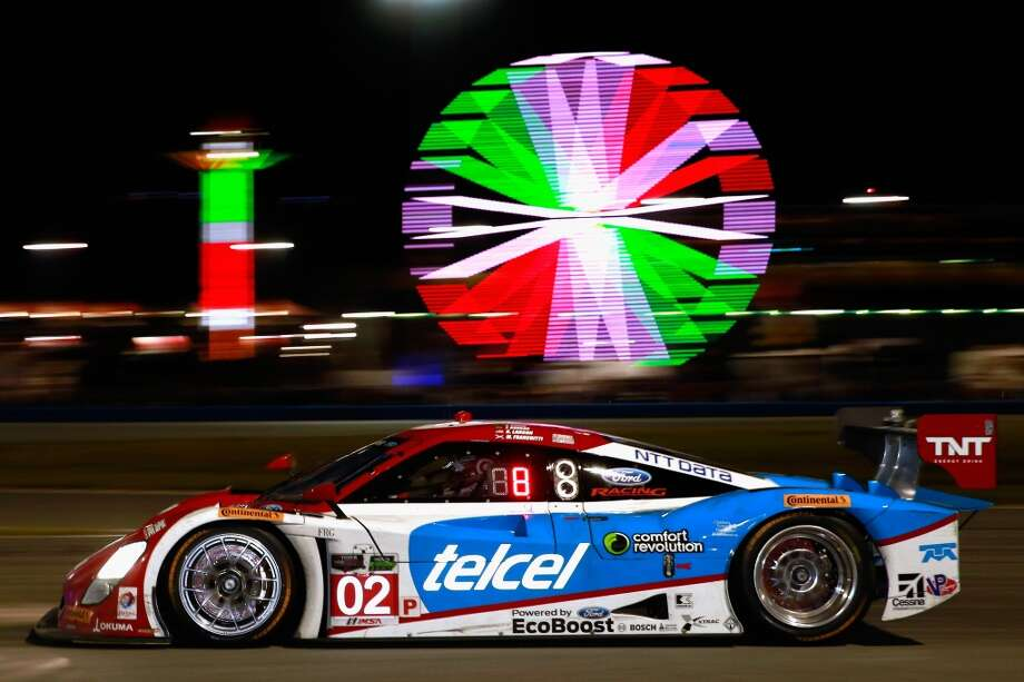 The #02 Chip Ganassi Racing Target/Telcel Riley DP driven by Scott Dixon, Tony Kanaan, Mario Franchitti and Kyle Larson races during the Rolex 24 at Daytona International Speedway in Daytona Beach, Florida. Photo: Chris Trotman, Getty Images