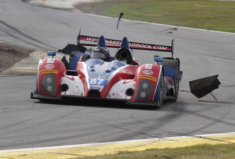 The #87 Bar 1 Motorsport ORECA FLM09 has a tire failure during the ROLEX 24 at Daytona International Speedway in Daytona Beach, Florida. Photo: Jerry Markland, Getty Images
