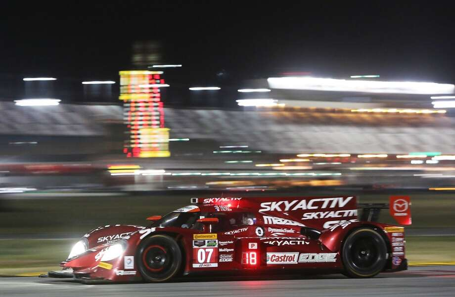 The #07 SpeedSource Mazda driven by Joel Miller, Tristan Nunez and Tristain Vautier races during the ROLEX 24 at Daytona International Speedway  in Daytona Beach, Florida. Photo: Jerry Markland, Getty Images