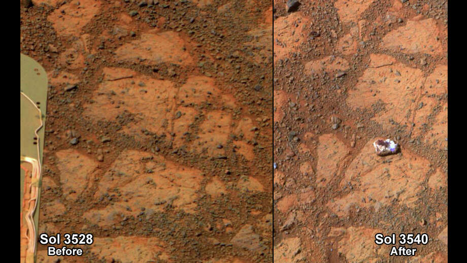 This composite image provided by NASA shows before and-after images taken by the Opportunity rover. At left is an image of a patch of ground taken on Dec. 26, 2013. At right is in image taken on Jan. 8, 2014 showing a rock shaped like a jelly doughnut that had not been there before. The space agency said the rover Opportunity likely kicked up the rock into its field of view. Opportunity landed on Mars in 2004 and continues to explore. (AP Photo/NASA) Photo: Uncredited, Associated Press / NASA