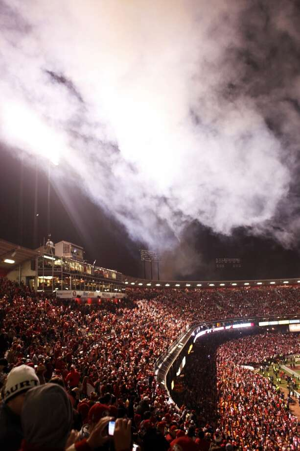Smoke from fireworks hangs in the air during a ceremony honoring the history of the stadium after a 49ers game against the Atlanta Falcons at Candlestick Park on December 23, 2013 in San Francisco, Calif. This will be the last regular-season game at Candlestick Park. Photo: The Chronicle