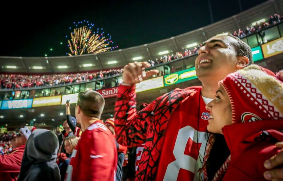 Fans enjoy the fireworks after the 49ers beat the Falcons  during the last game at Candlestick Park in San Francisco, Calif., on December 23rd, 2013. Photo: Special To The Chronicle