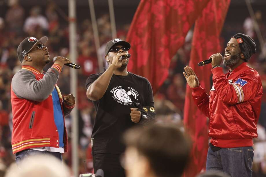 Boyz II Men performs during a post-game ceremony after the game between the San Francisco 49ers and Atlanta Falcons at Candlestick Park on Monday December 23, 2013 in San Francisco, Calif.  The 49ers defeated the Falcons, 34-24, in the last home game the 49ers will have at Candlestick Park before the stadium is demolished. Photo: Michael Macor, The Chronicle