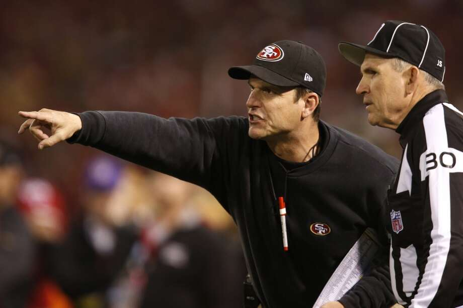 San Francisco 49ers head coach Jim Harbaugh gestures during the second quarter of the game between the San Francisco 49ers and Atlanta Falcons at Candlestick Park on Monday December 23, 2013 in San Francisco, Calif. Photo: Michael Macor, The Chronicle