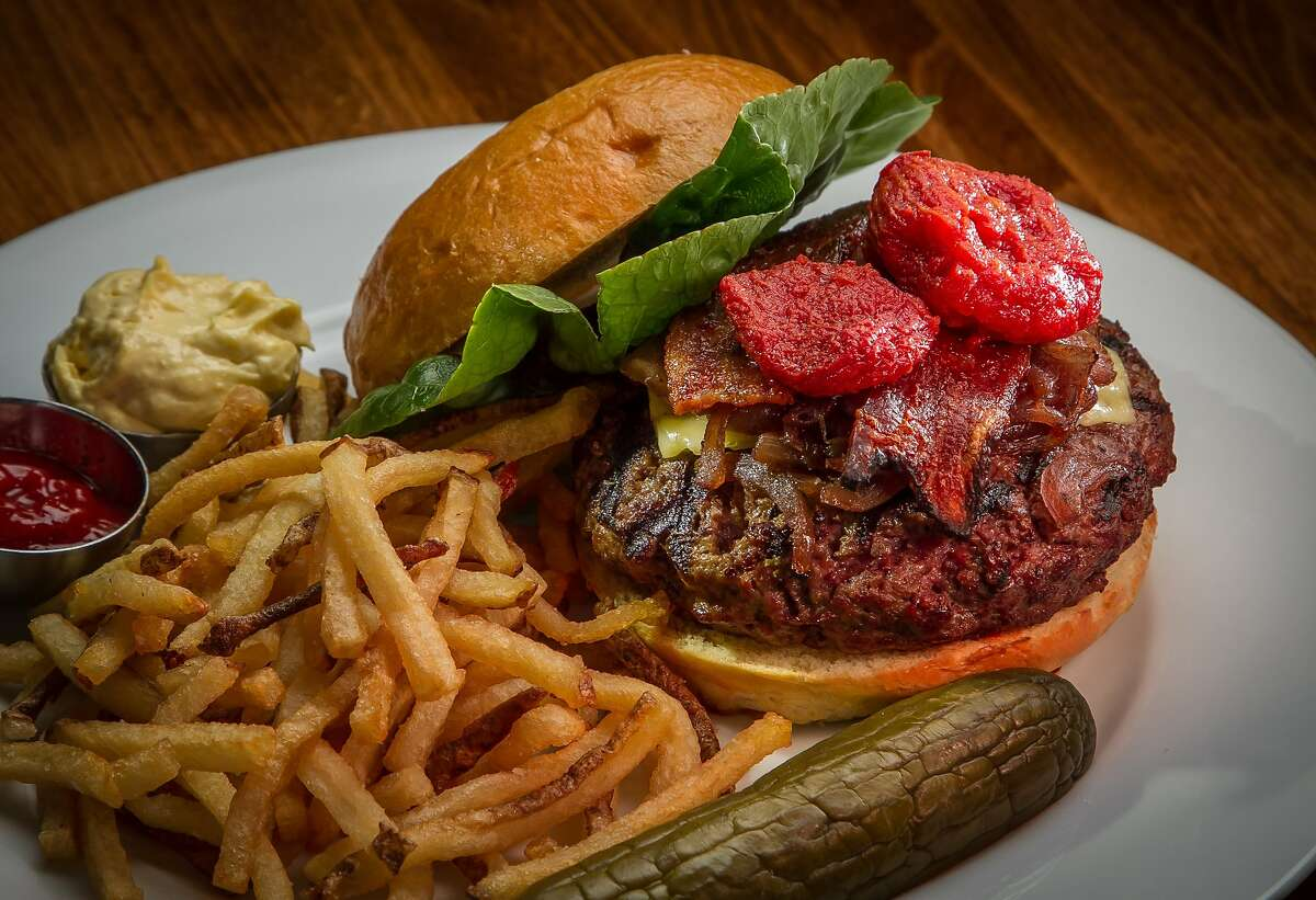 The grass fed Beef Burger at Aly's on Main in Redwood City, Calif., is seen on January 21st, 2014.