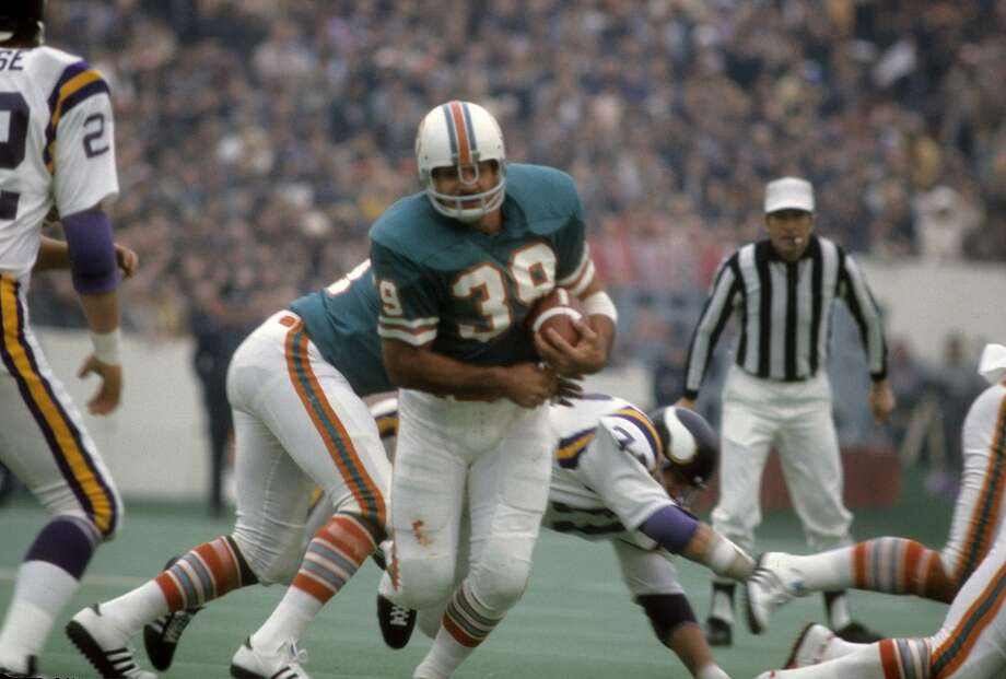 Super Bowl VIII Miami Dolphins 24, Minnesota Vikings 7 Jan. 13, 1974  MVP — Larry Csonka, RB, Miami Dolphins   Stats: 33 carries, 145 rushing yards, 2 touchdowns Photo: Focus On Sport, Getty Images