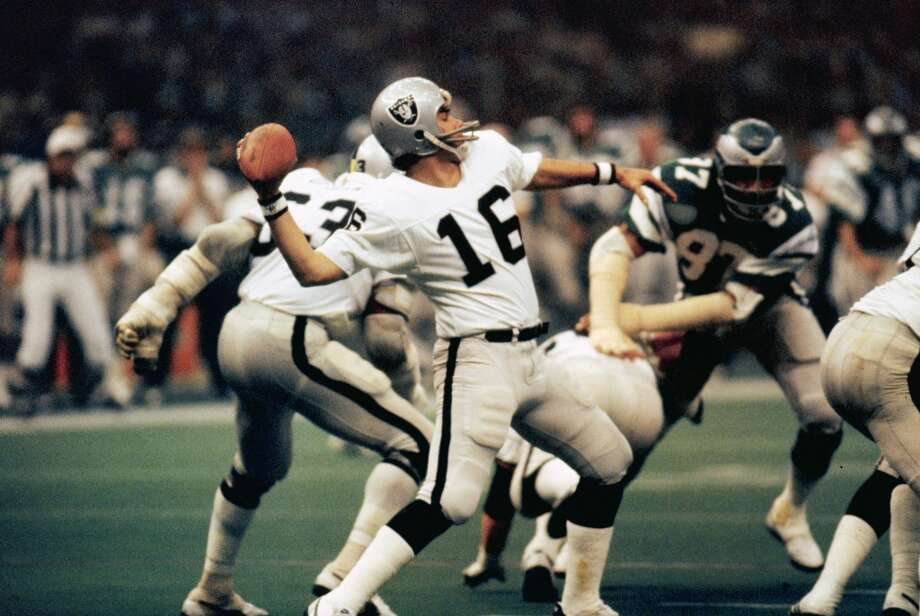 Super Bowl XV Oakland Raiders 27, Philadelphia Eagles 10 Jan. 25, 1981  MVP — Jim Plunkett, QB, Oakland Raiders  Stats: 261 passing yards, 3 touchdowns Photo: Sylvia Allen, Getty Images