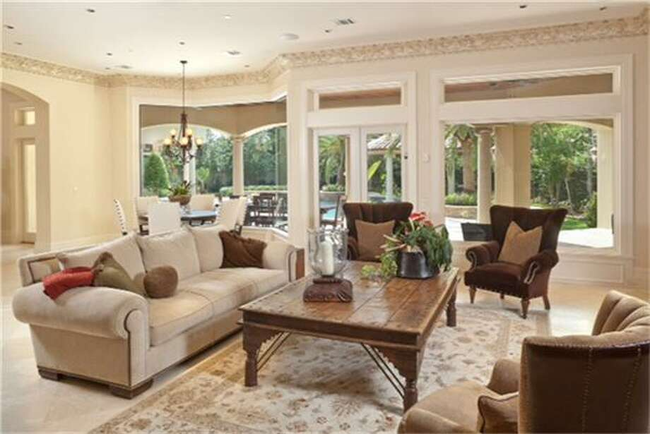 11010 N Country Squire: This 2012 Mediterranean-style mega home has 6 bedrooms, 7 full and 2 half bathrooms, 12,065 square feet, and features marble floors, movie theater, enormous master bathroom, multiple terraces, and pool. Listed for $6,950,000. Photo: Houston Association Of Realtors