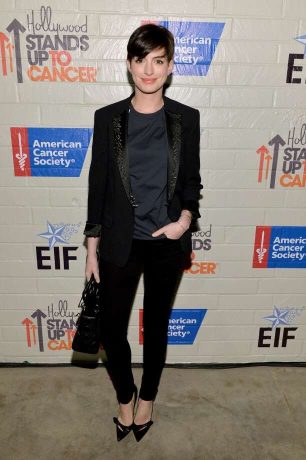 Actress Anne Hathaway attends Hollywood Stands Up To Cancer Event with contributors American Cancer Society and Bristol Myers Squibb hosted by Jim Toth and Reese Witherspoon and the Entertainment Industry Foundation on Tuesday, January 28, 2014 in Culver City, California. Photo: Michael Buckner, Getty Images For Entertainment Industry Foundation