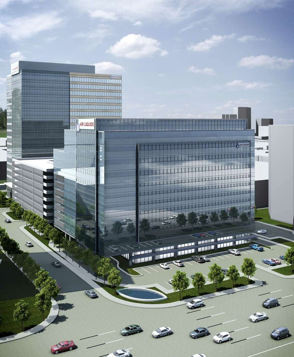This rendering shows an office development at Memorial City that will house Air Liquide.
