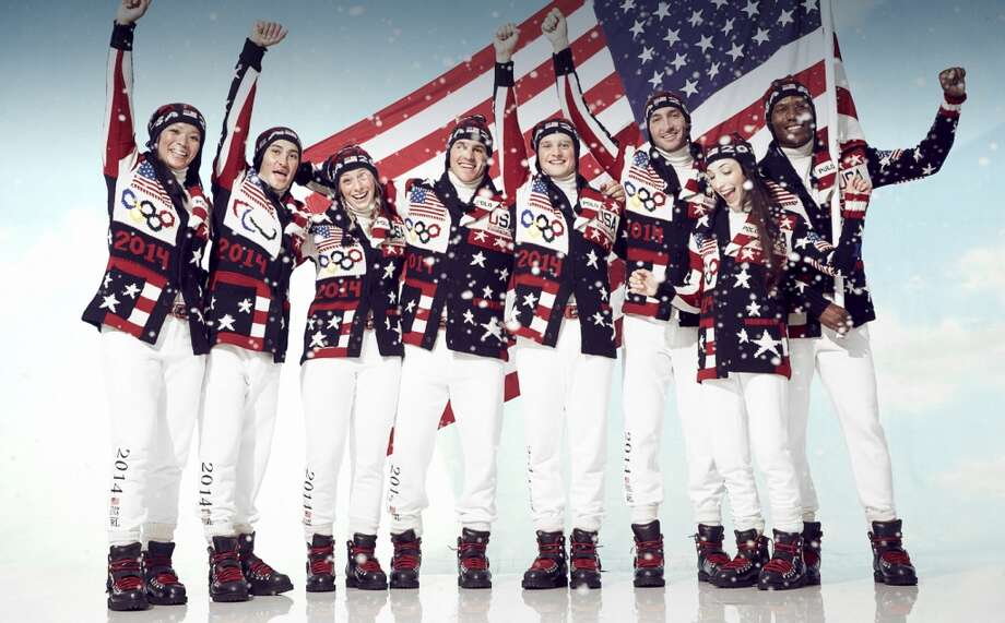 In advance of the 2014 Olympic Winter Games, which begin Feb. 6, Ralph Lauren has unveiled the official opening ceremony parade uniforms for Team USA. The uniforms are a mix of splashy patriotic graphics in a palette of red, white and navy. Photo: Ralph Lauren