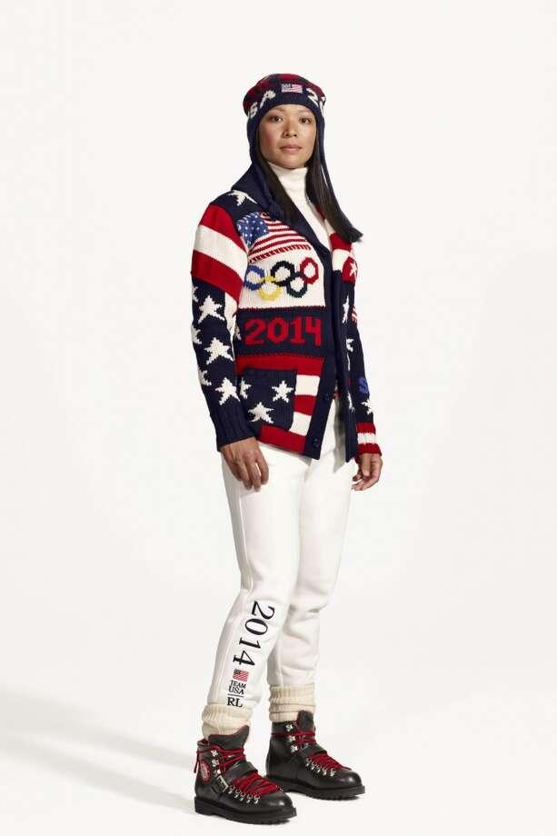 American hockey player Julie Chu wearing the official Ralph Lauren-designed uniform for Team USA.