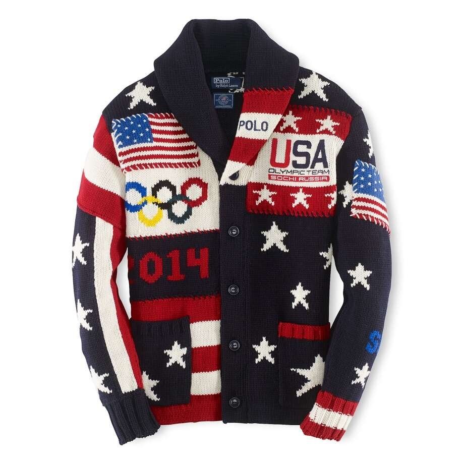 Ralph Lauren's Team USA patchwork cardigan ($595). For the first time, 100 percent of the purchase price will be donated to the U.S. Olympic Committee. Photo: ANDREW DE FRANCESCO/VANESSA MORA, Ralph Lauren