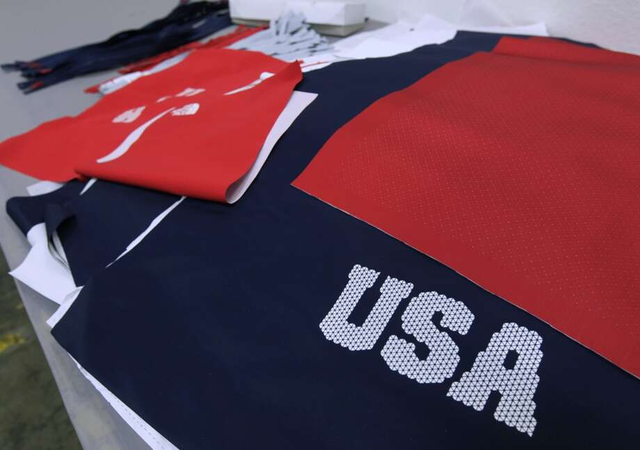 Fabric for U.S. Olympic freeskiing team uniforms is displayed at the North Face development center in San Leandro, Calif. The longtime Bay Area outdoor clothing and equipment company is outfitting the U.S. Olympic freeskiing team competing in Sochi, Russia. The limited edition clothing is also available to the public. Photo: Paul Chinn, The Chronicle