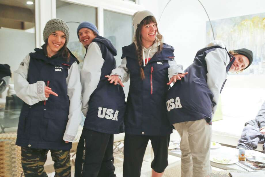 (Left to right) Angeli VanLaanen, Lyman Currier, Keri Herman, Joss Christensen, members of the U.S. Freeskiing Team, had a chance to check out their new competition uniforms from The North Face, while in Aspen, CO preparing for the X-Games. (Photo by Nathan Bilow/Invision for The North Face/AP Images) Photo: Nathan Bilow, Associated Press