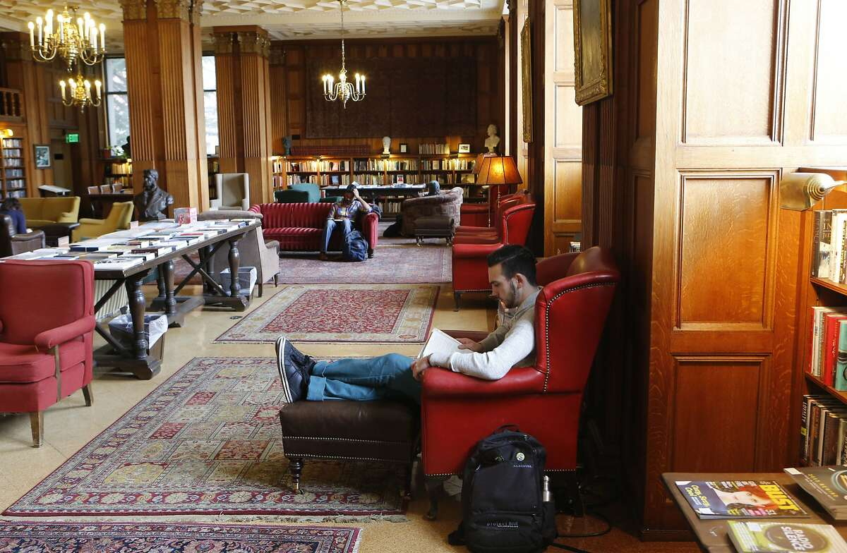 Trent Trombley, a UC Berkeley junior, studies in a comfortable spot at the A.F. Morrison Memorial Library.
