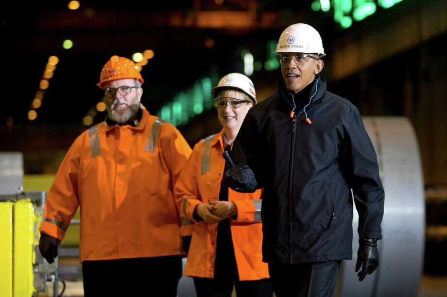 President Barack Obama tours a U.S. Steel plant in West Mifflin, Pa., before discussing the retirement policies he highlighted in his State of the Union Address. Photo: Carolyn Kaster, STF / AP