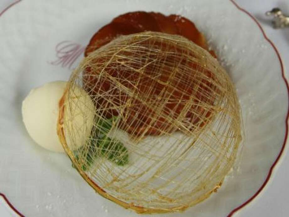 Tarte tat in with a spun sugar dome at Chez Georges, 2006. Photo: James Nielsen/Chronicle