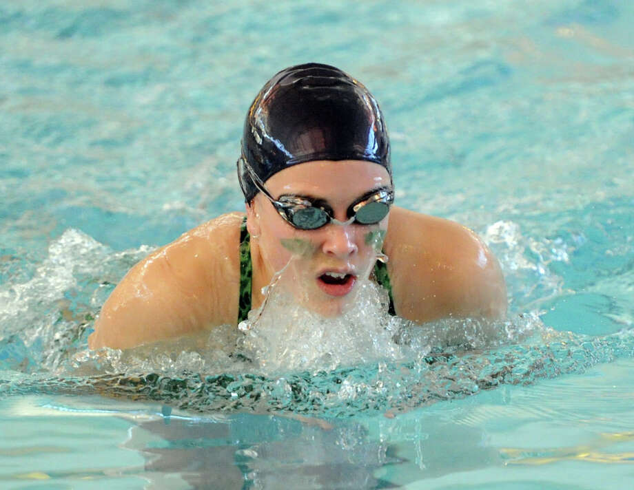 Maeve Hogan of Convent of the Sacred Heart competes in the 200 medley relay event during the high school swim meet between Convent of the Sacred Heart and Greenwich Academy at the YMCA of Greenwich, Wednesday, Jan. 29, 2014. Photo: Bob Luckey / Greenwich Time