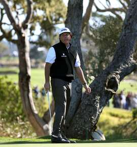 Phil Mickelson reacts to a missed birdie putt on the 16th hole during the third round of the AT&T Pebble Beach National Pro-Am at Pebble Beach Golf Links on February 9, 2013 in Pebble Beach, Calif.