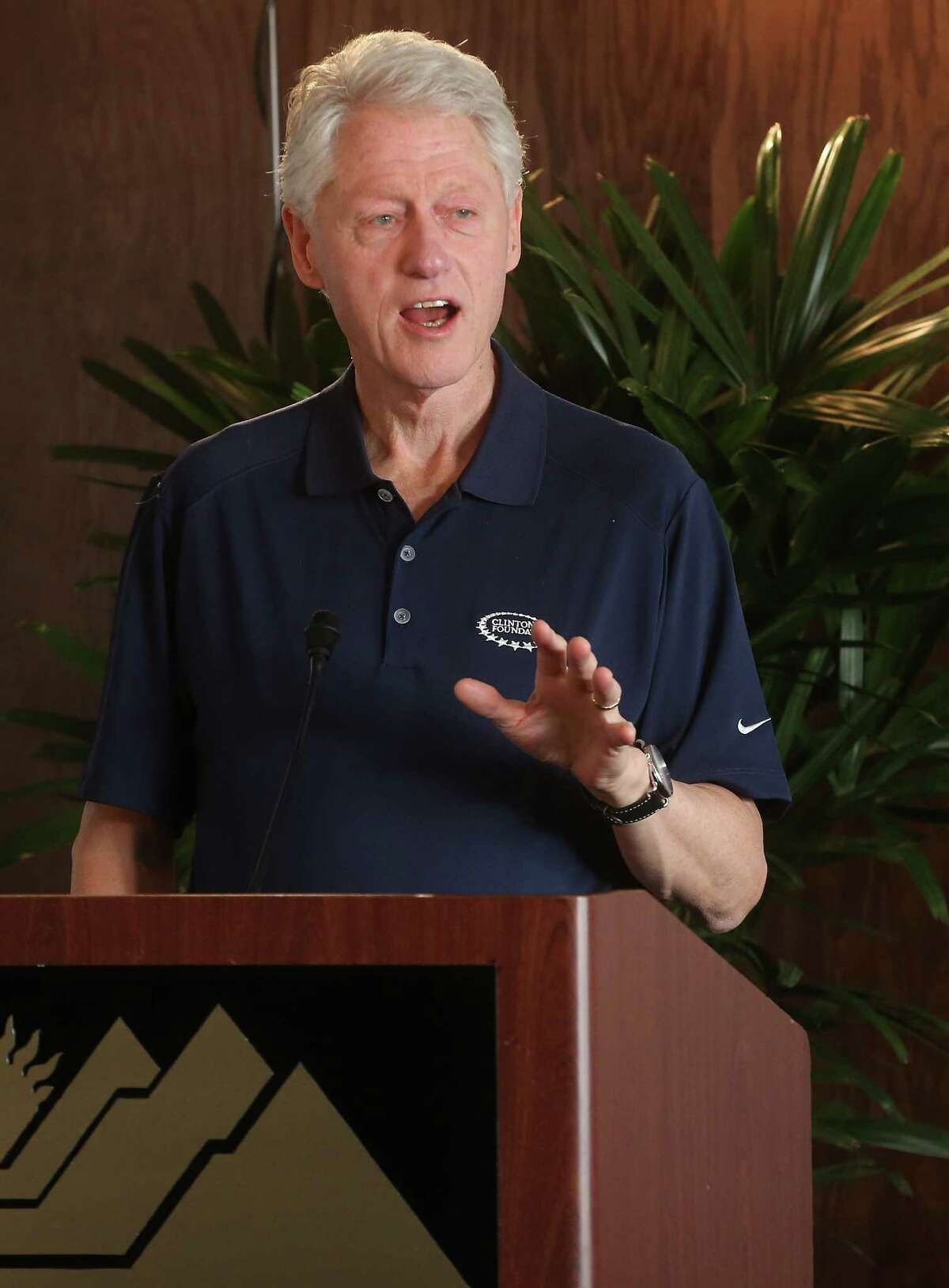 Former U.S. President Bill Clinton speaks during a press conference before the opening round of the Humana Challenge in partnership with the Clinton Foundation at PGA West on January 16, 2014 in La Quinta, California.